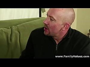Older guy gets blowjob by step-daughter..