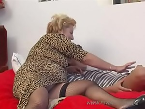 blonde mature mom with young boy 7