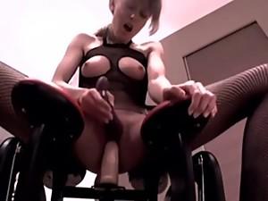 Amateur rides monkey rocker to orgasm HD..