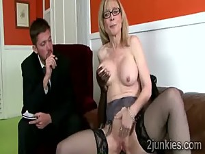 Gorgeous mature secretary gets split in..