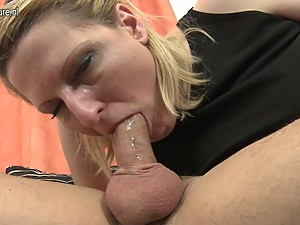 Naughty mother starts sucking cock while..