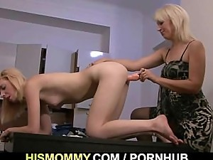 Old mom toying her son's girl