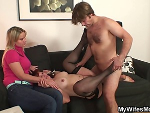 He fucks her mom and she watches