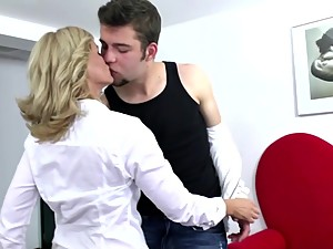 Sexy mature mom fucked hard by her..