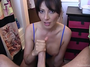 Mom Catches Son Wanking and Helps with a..